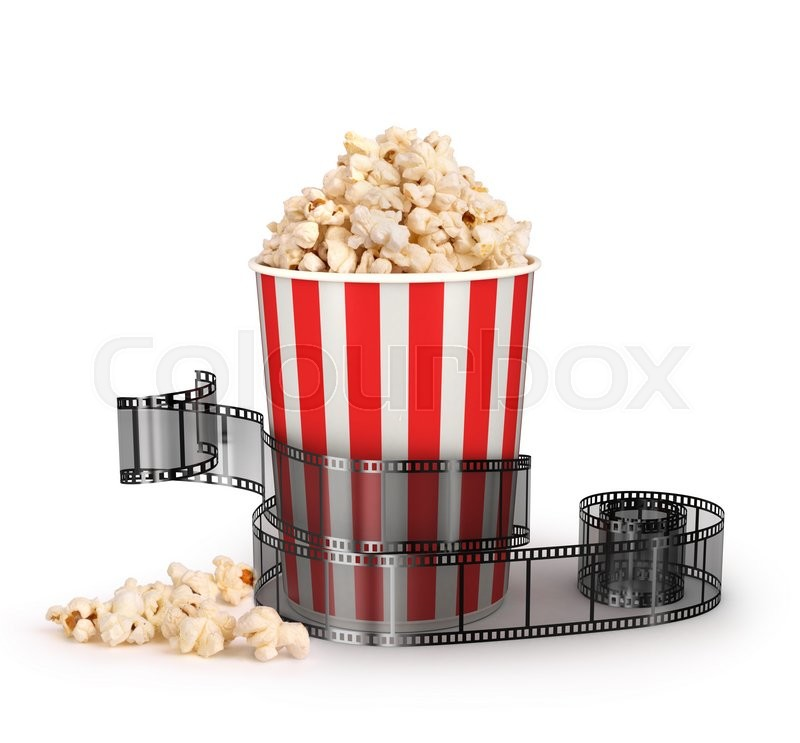 Stock image of ' box of popcorn with a strip of 35mm film on a white background, symbols of the entertainment industry, 3d illustration'