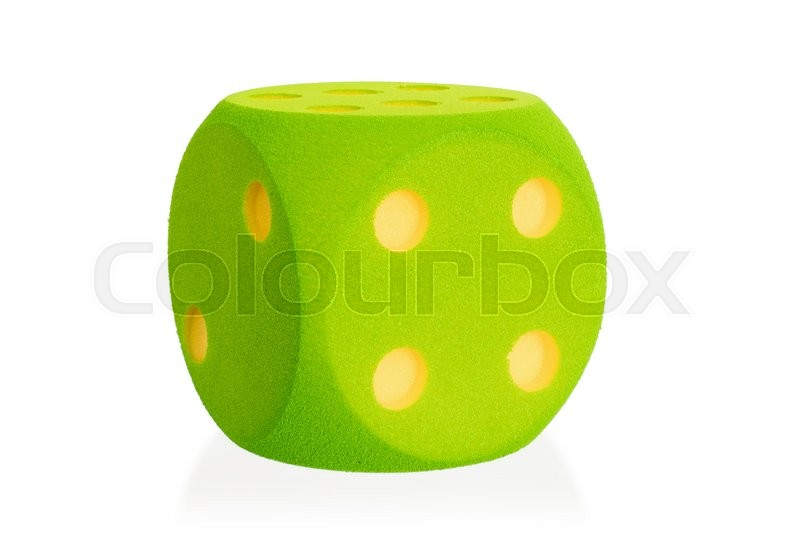 Stock image of 'Large green foam dice isolated on white set - 4'