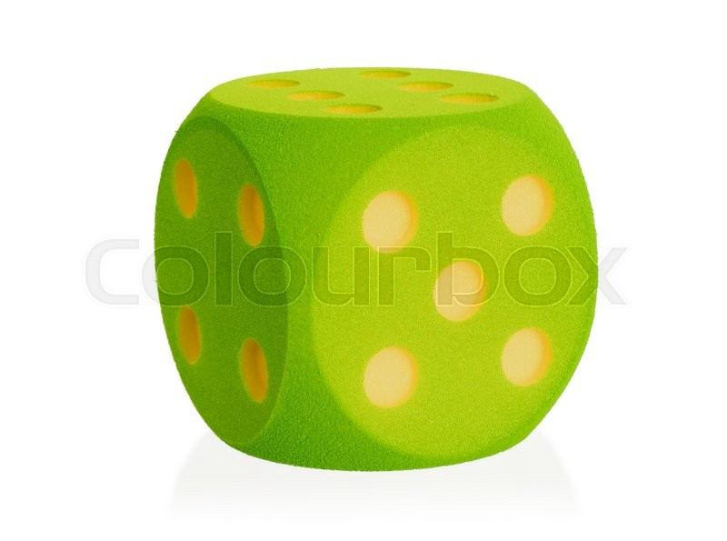 Stock image of 'Large green foam dice isolated on white set - 5'