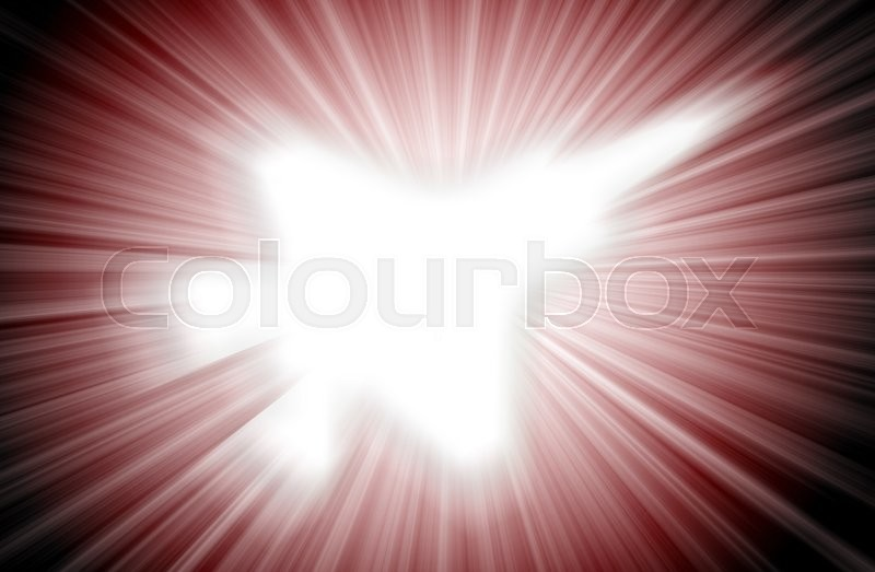 Stock image of 'Jet plane silhouette, modern fighter in the sky (starburst)'