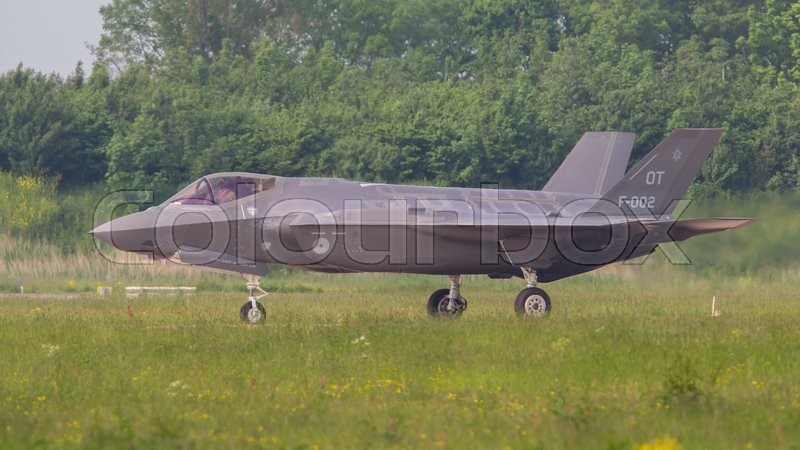Editorial image of 'LEEUWARDEN, THE NETHERLANDS -MAY 26: F-35 fighter during it's first test in Europe on May 26, 2016 in Leeuwarden. It is the world's most advanced multi-role fighter.'
