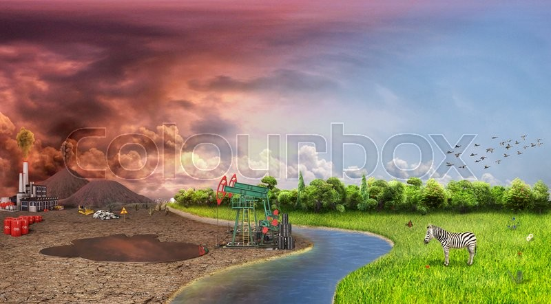 Stock image of 'Eco concept. One side is nature with animals and birds, different side is empty and dry ground with mountains, factory and oil pump. Save the nature.'