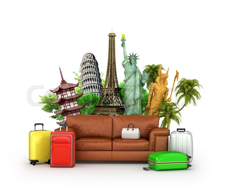 Stock image of 'Travel concept. Leather sofa, suitcase and world-famous attractions on white background. Wallpaper. 3d illustration'
