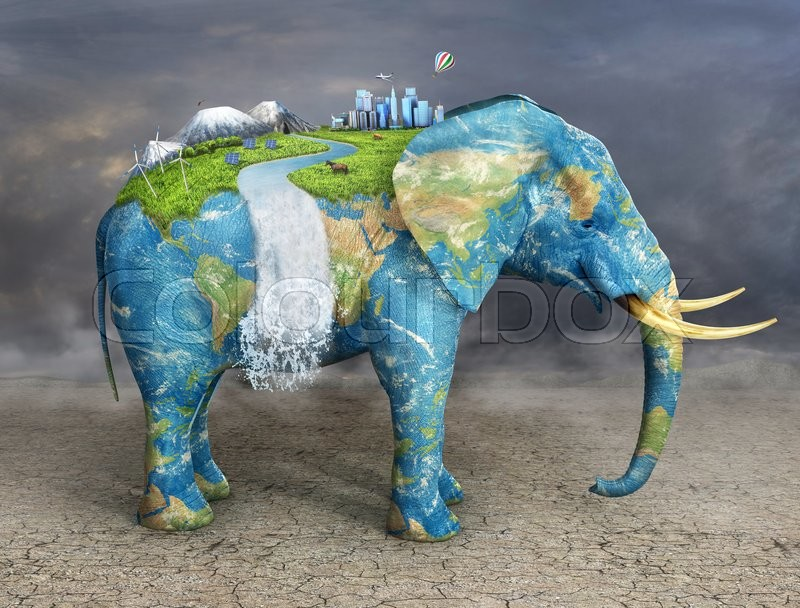 Stock image of 'Concept of stability. Future city on textured elephant's back. City, mountains, animals, solar panel on covered grass elephant.  Eco concept.'