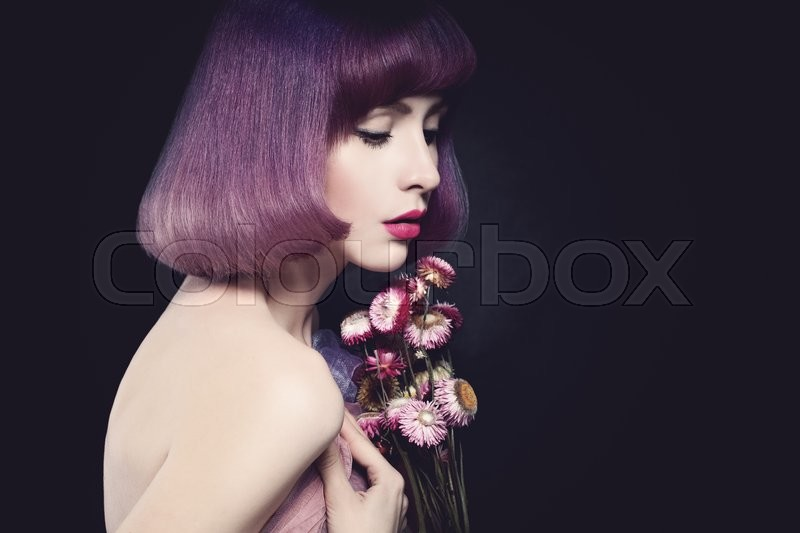 Stock image of 'Beautiful Woman Fashion Model. Bob Haircut. Purple Color Hairstyle. Makeup'