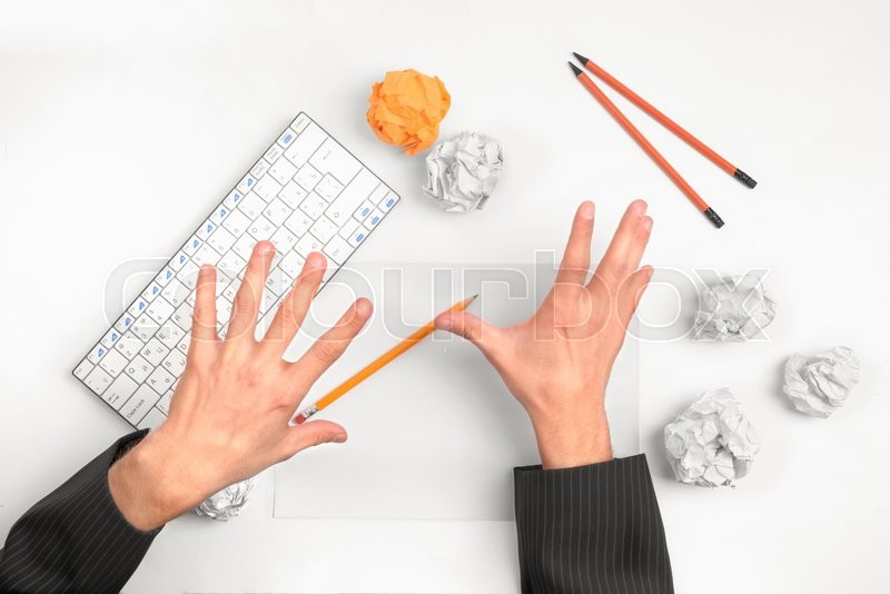 Stock image of ' hands throw things on the table '