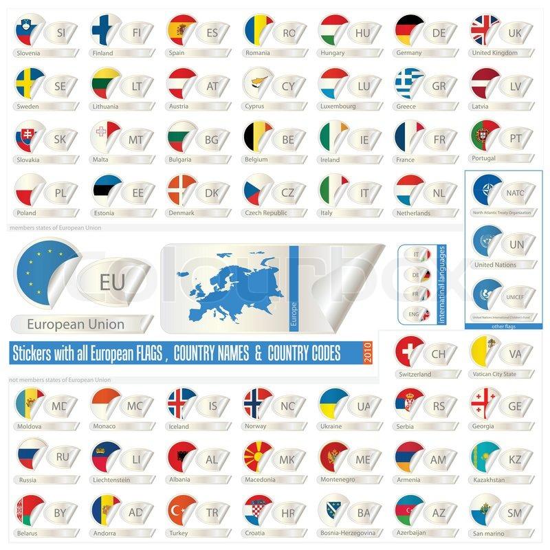 aufkleber mit allen europ ischen counrtys flags ende namen abk rzungen vektorgrafik colourbox. Black Bedroom Furniture Sets. Home Design Ideas