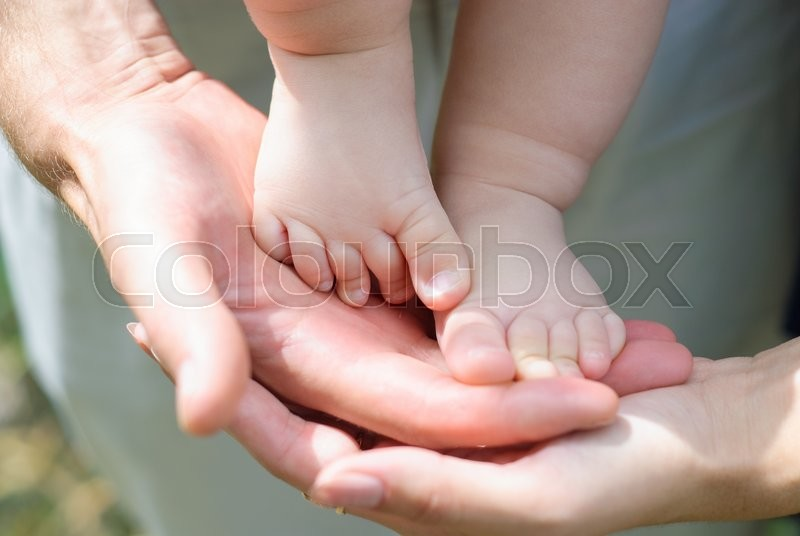 Stock image of 'A fragment of a children's leg'