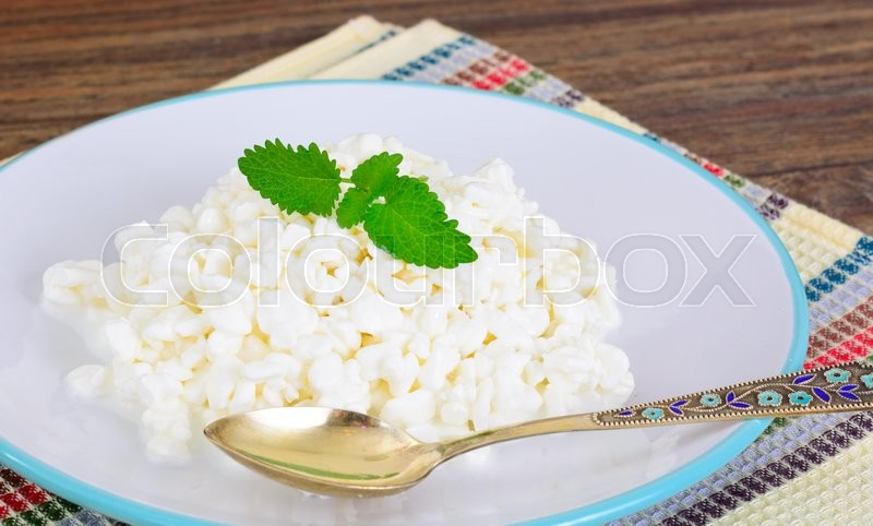 Stock image of 'Home Dietary Fat Cottage Cheese Beaded Curd Studio Photo'