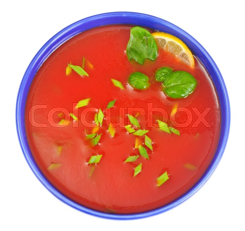 Stock image of 'Tomato Soup in Plate. National Italian Cuisine. Studio Photo'