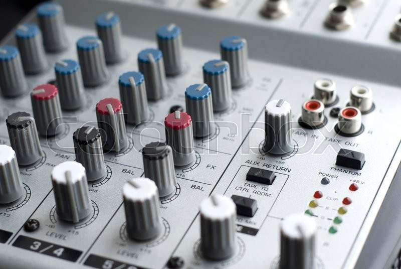 Stock image of 'Audio Mixer - close up with shallow depth of field'