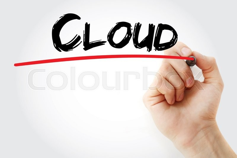 Stock image of 'Hand writing Cloud with marker, business concept'