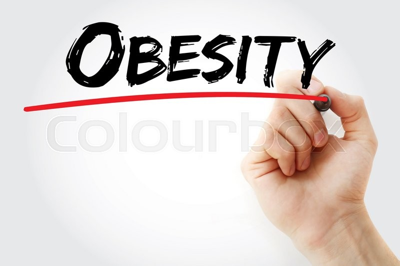 Stock image of 'Hand writing Obesity with marker, concept'