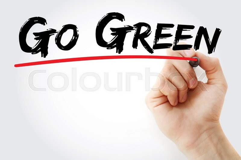 Stock image of 'Hand writing Go Green with marker, concept'