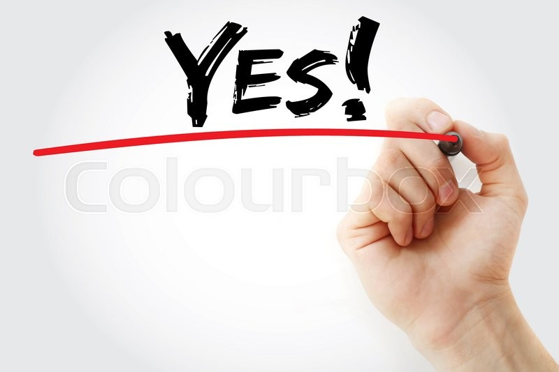 Stock image of 'Hand writing Yes! with marker, business concept'