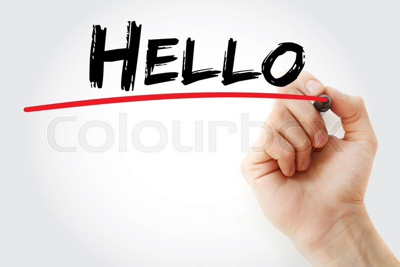 Stock image of 'Hand writing Hello with marker, business concept'
