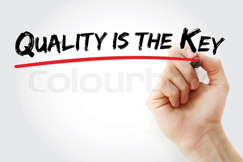 Stock image of 'Hand writing Quality is the Key with marker, business concept'