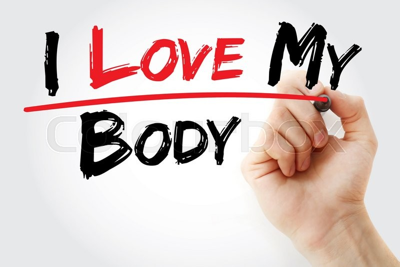 Stock image of 'Hand writing I love my body with marker, concept'