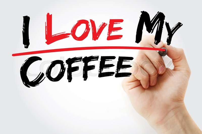 Stock image of 'Hand writing I love my coffee with marker, concept'