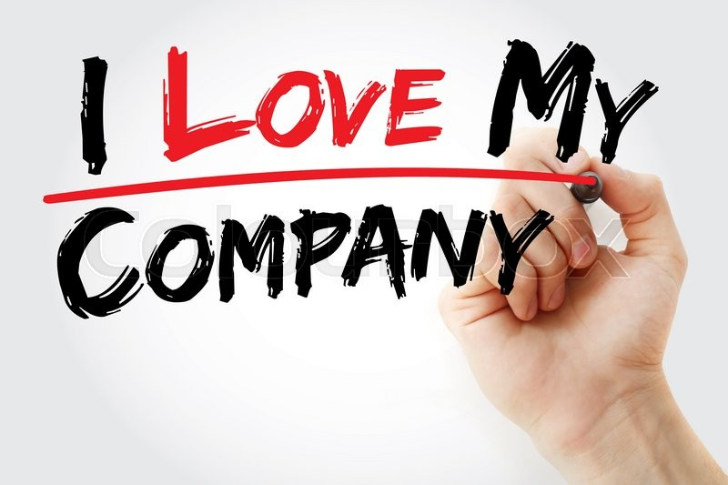 Stock image of 'Hand writing I love my company with marker, business concept'