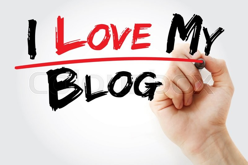 Stock image of 'Hand writing I love my blog with marker, business concept'