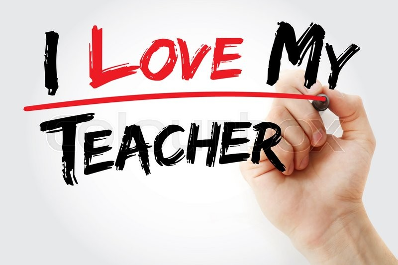 Stock image of 'Hand writing I love my teacher with marker, business concept'