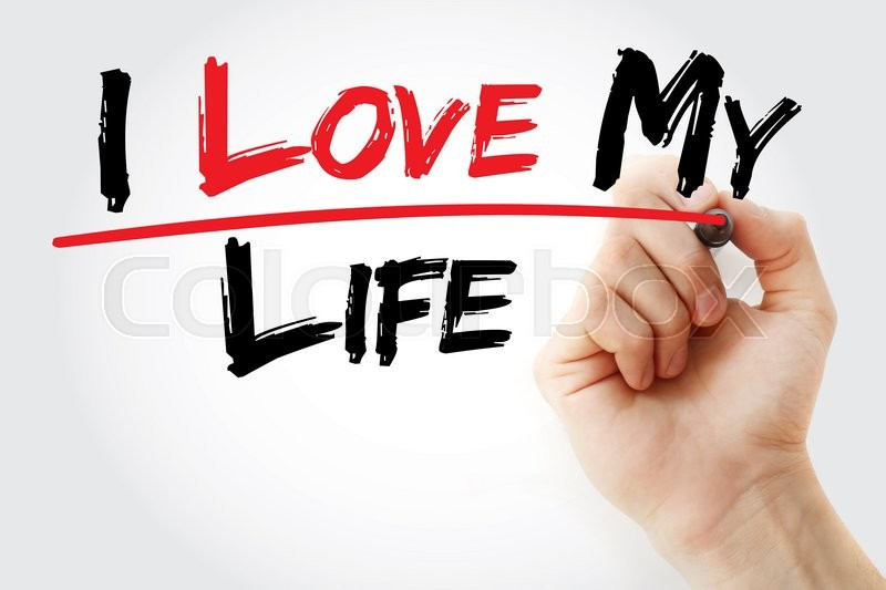 Stock image of 'Hand writing I love my life with marker, concept'