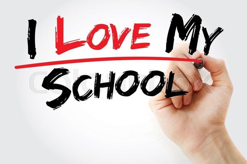 Stock image of 'Hand writing I love my school with marker, concept'