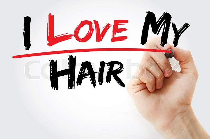 Stock image of 'Hand writing I love my hair with marker, concept'