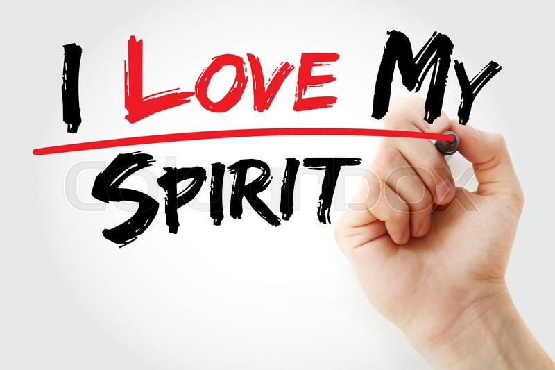 Stock image of 'Hand writing I love my Spirit with marker, concept'