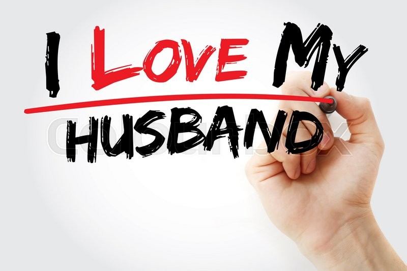 Stock image of 'Hand writing I love my husband with marker, concept'