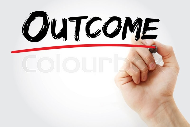 Stock image of 'Hand writing Outcome with marker, business concept'