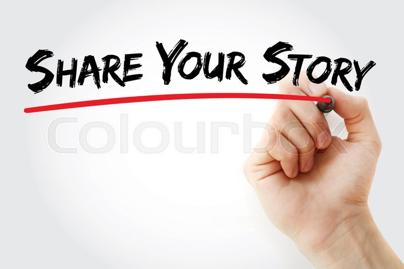 Stock image of 'Hand writing Share Your Story with marker, business concept'