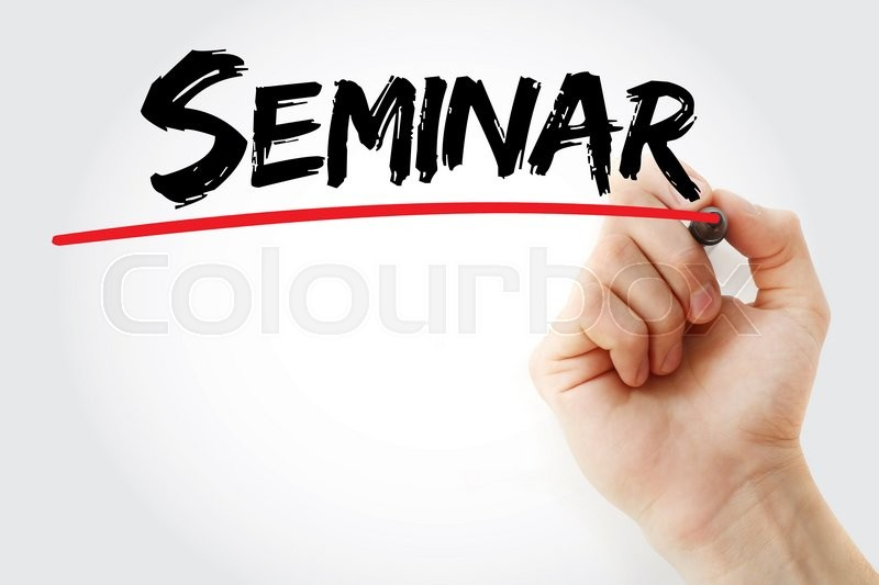 Stock image of 'Hand writing Seminar with marker, business concept'