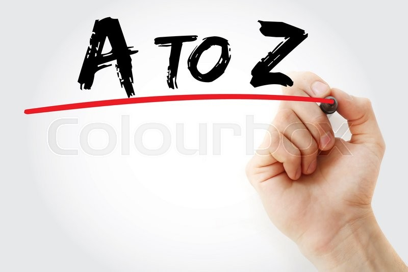 Stock image of 'Hand writing A to Z with marker, business concept'