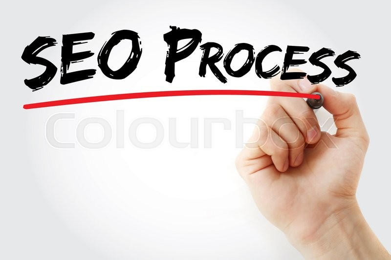 Stock image of 'Hand writing SEO process with marker, business concept'