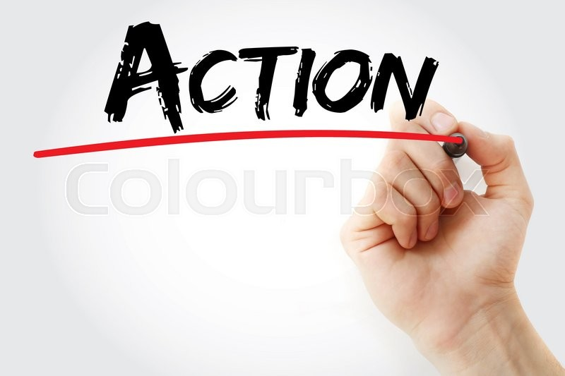 Stock image of 'Hand writing Action with marker, business concept'
