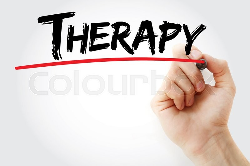 Stock image of 'Hand writing Therapy with marker, health concept'