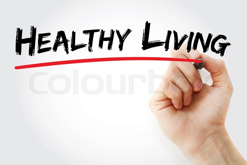 Stock image of 'Hand writing Healthy living with marker, health concept'