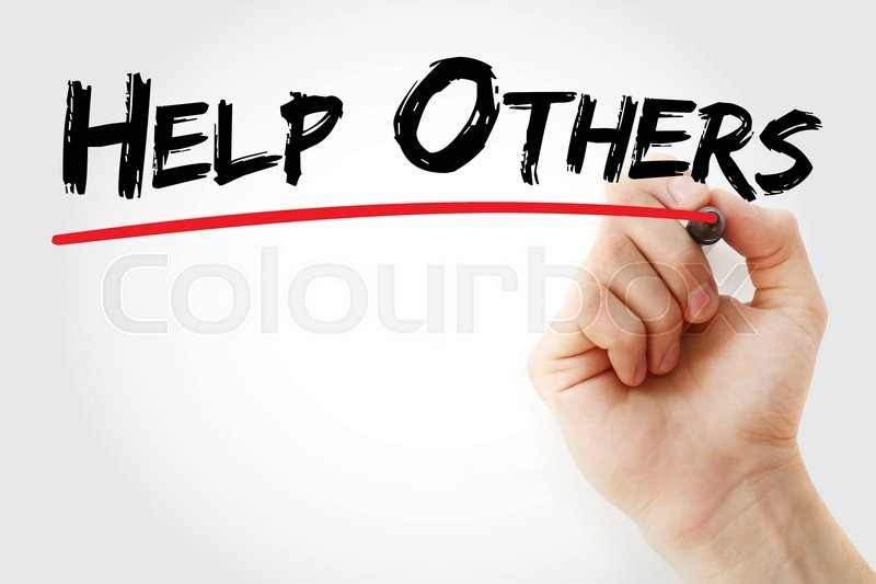 Stock image of 'Hand writing Help Others with marker, help concept'