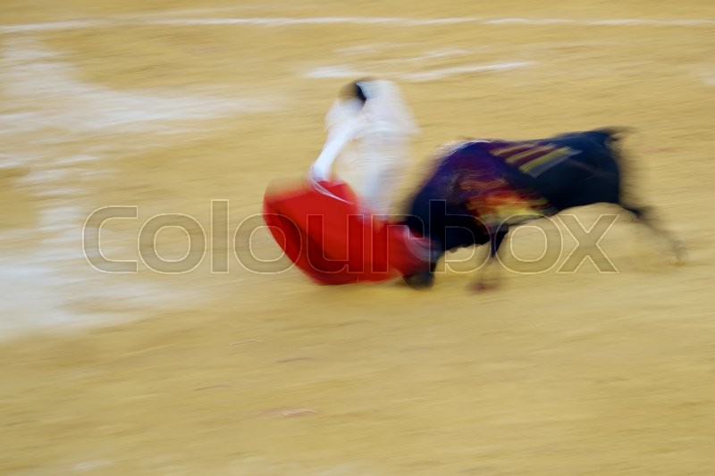 Stock image of 'Artistic abstract about bullfigting in bullring Zaragoza, Spain.'