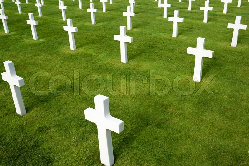 Editorial image of 'White crosses in American Cemetery, Coleville-sur-Mer, Omaha Beach, Normandy, France.'