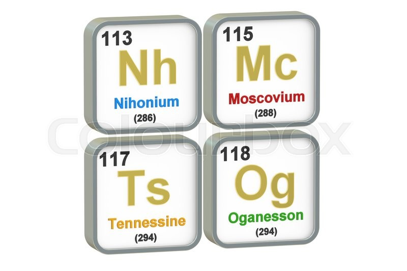 Stock image of 'Nihonium, Moscovium, Tennessine, Oganesson chemical elements isolated on white background, 3D rendering'