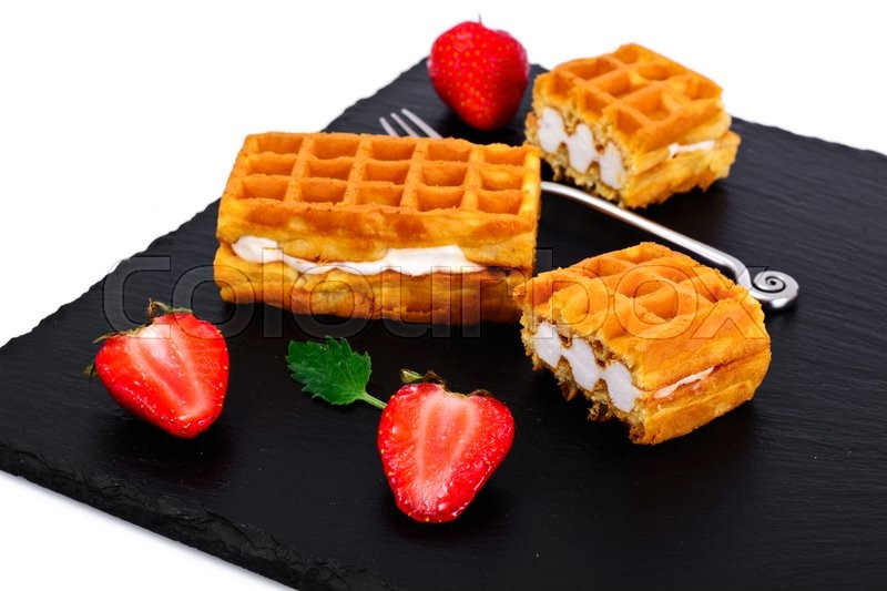 Stock image of 'Vienna, Belgian Waffles with Strawberry Studio Photo'
