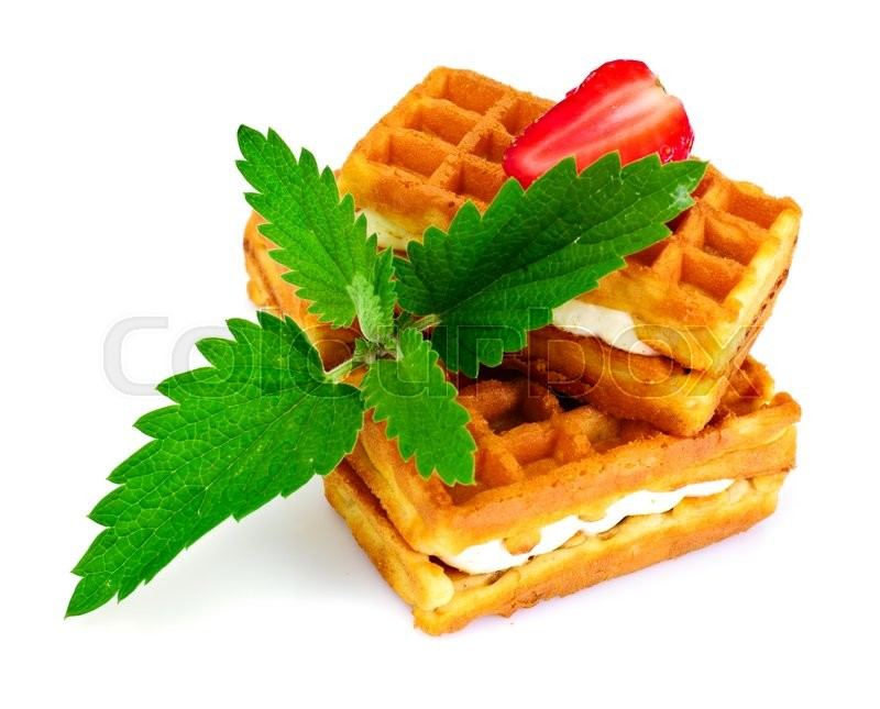 Stock image of 'Vienna, Belgian Waffles with Strawberry and Mint Studio Photo'