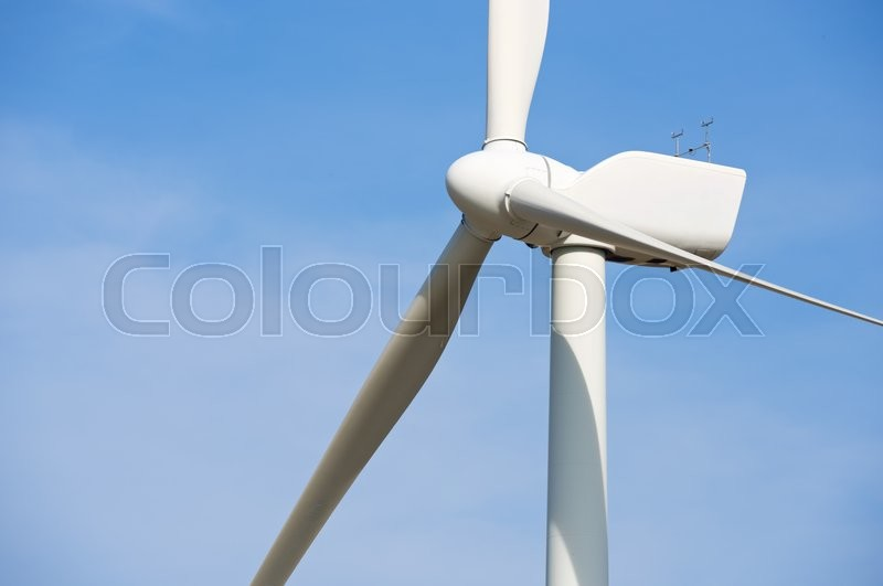 Stock image of 'Windmill for electric power production, Pozuelo de Aragon, Zaragoza Province, Aragon, Spain.'