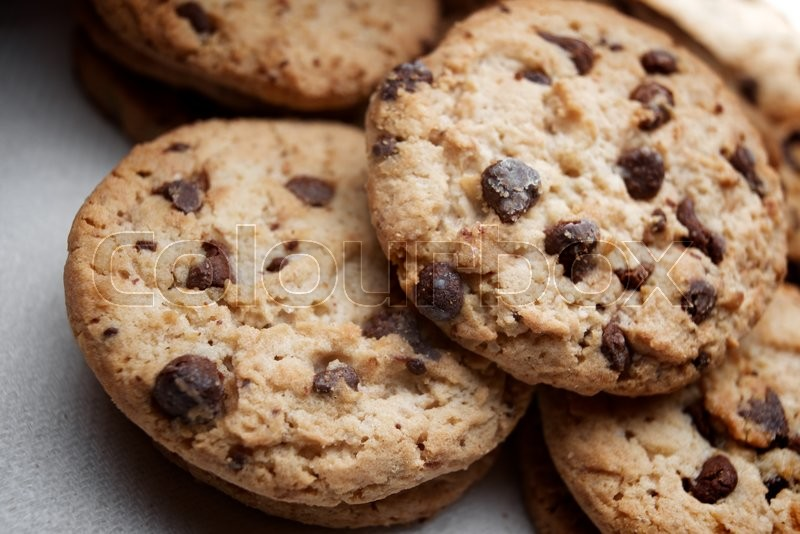 Stock image of 'Group of chocolate chips cookies.'