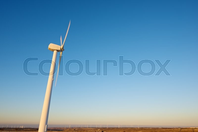 Stock image of 'Windmills for electric power production, La Muela, Zaragoza Province, Aragon, Spain.'