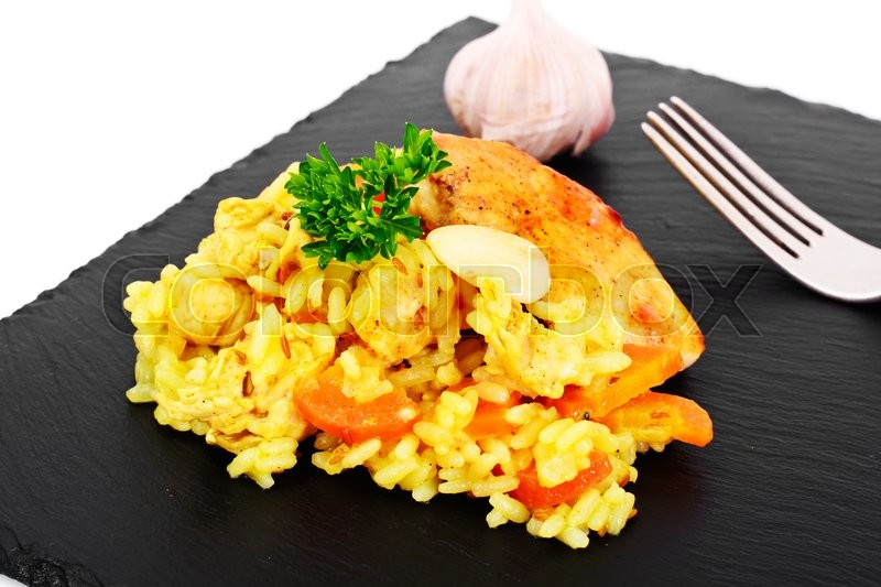 Stock image of 'Healthy Food: Pilaf with Meat and Rice. Studio Photo'