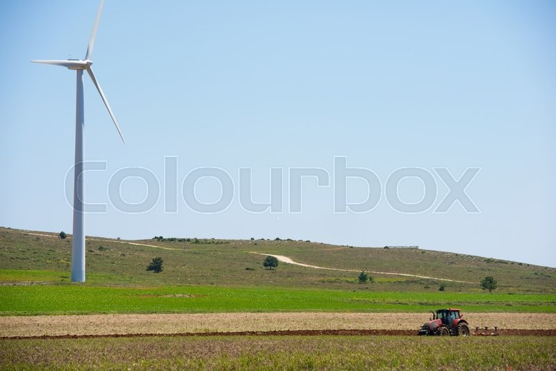 Stock image of 'Windmills for electric power production, Burgos Province, Castilla Leon, Spain.'